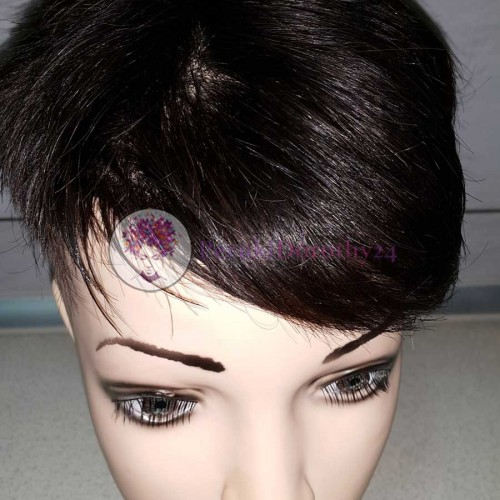 Peruka - krótkie, czarne włosy